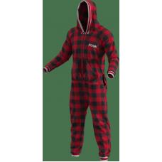 Pyjama une pièce à carreaux rouges et noirs