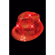 Chapeau rouge à pailettes lumineux